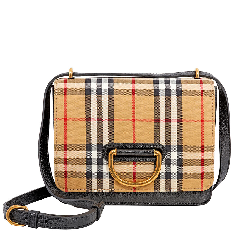 Burberry Small Vintage Check D-Ring Crossbody Bag- Black Antique Yellow  Item No. 4076641 a5a442f5672ba
