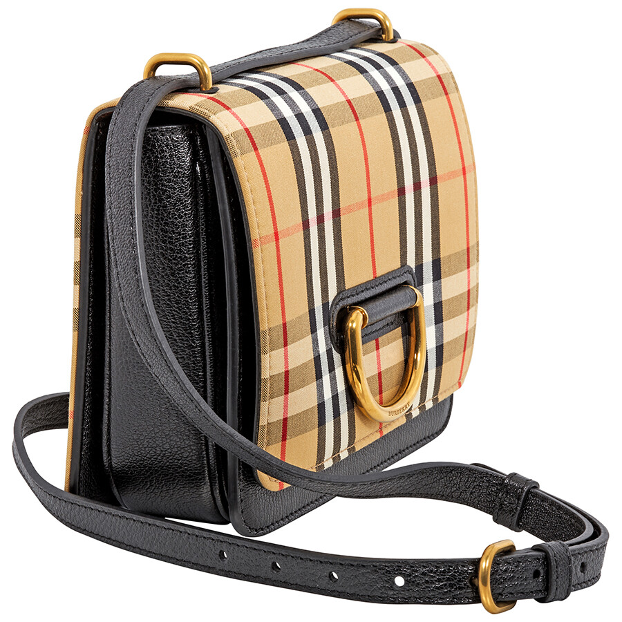 Burberry Small Vintage Check D-Ring Crossbody Bag- Black Antique Yellow ecb7baf8c6887