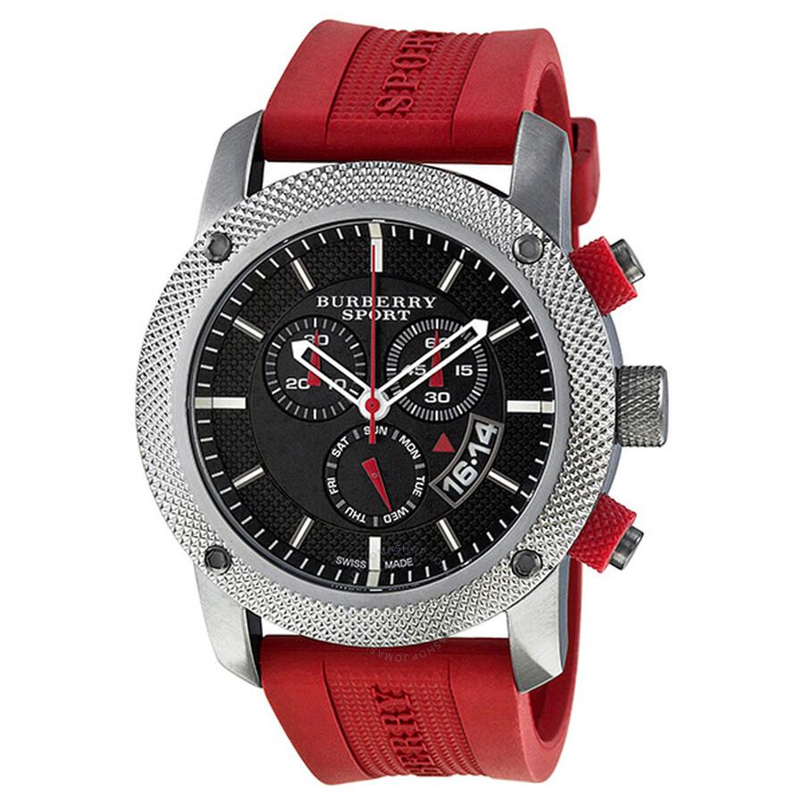 burberry sport chronograph black rubber s