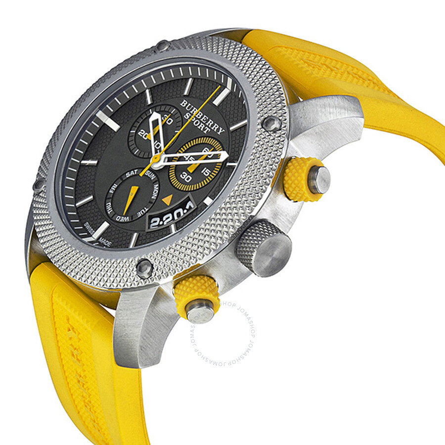 86e7976badf ... Burberry Sport Chronograph Grey Dial Yellow Rubber Men s Watch BU7712  ...