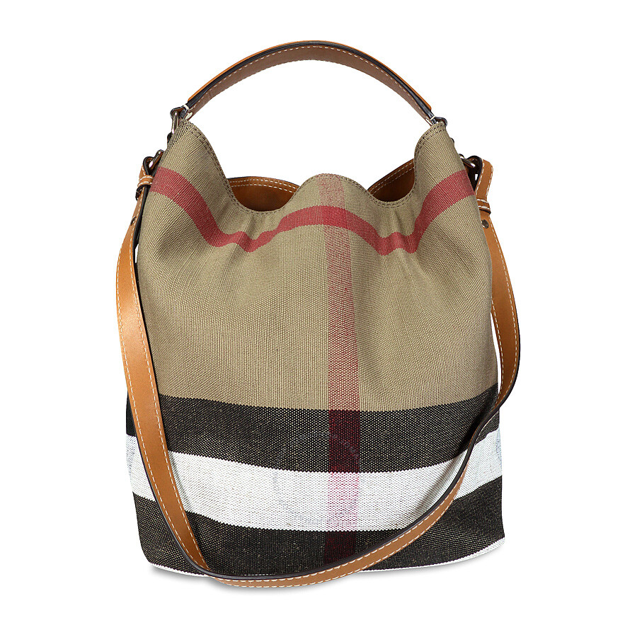 6ffa2fdf0c47 Burberry The Ashby Medium Canvas Check Tote - Saddle Brown ...