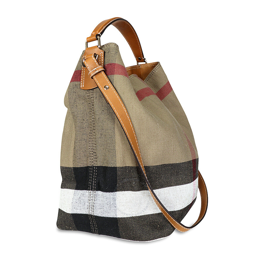 6ee4ec19e1c9 Burberry The Ashby Medium Canvas Check Tote - Saddle Brown Item No. 3945742