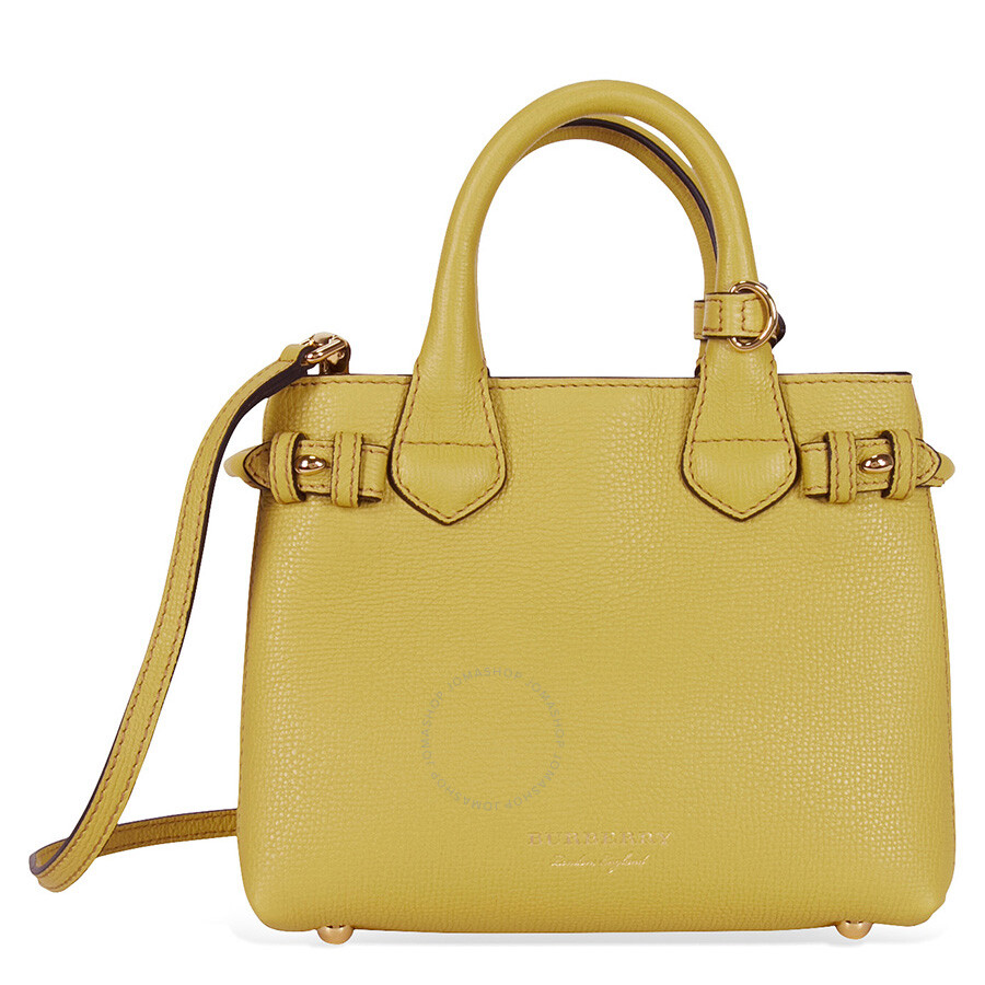Burberry The Baby Banner Leather and House Check Tote - Citrus Yellow Item  No. 4044653 a4989953f3