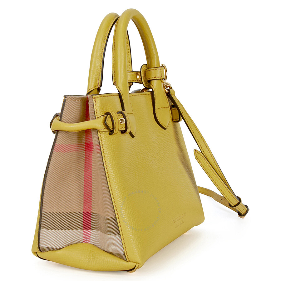 9fc873ced4a6 Burberry The Baby Banner Leather and House Check Tote - Citrus Yellow