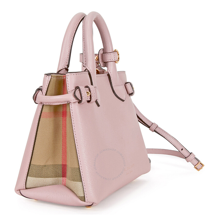 8d81ab6b65e9 Burberry The Baby Banner Leather and House Check Tote - Pale Orchid ...