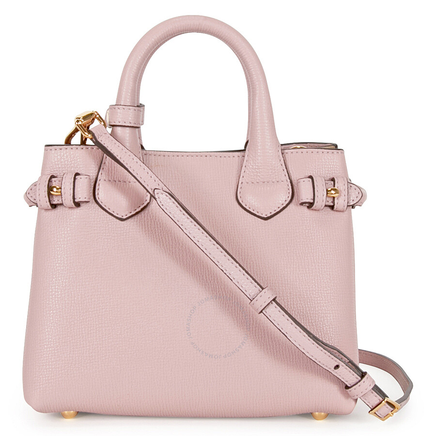 ca77947fa492 Burberry The Baby Banner Leather and House Check Tote - Pale Orchid Item  No. 4023713