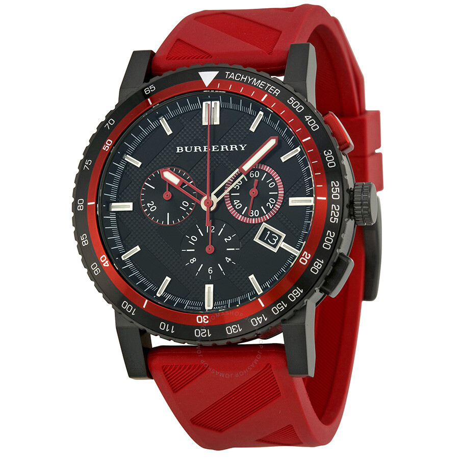 Burberry the city chronograph black dial red rubber men 39 s watch bu9805 burberry watches for Burberry watches