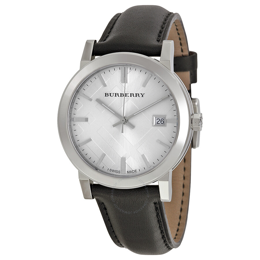 Burberry The City Silver Dial Black Leather Men's Watch ...