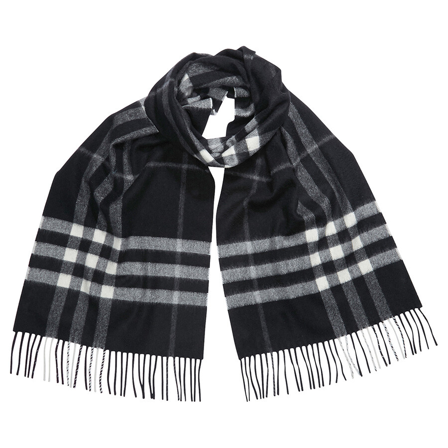 Burberry The Classic Cashmere Scarf - Black Check - Burberry Scarves ... 4c133cd51e