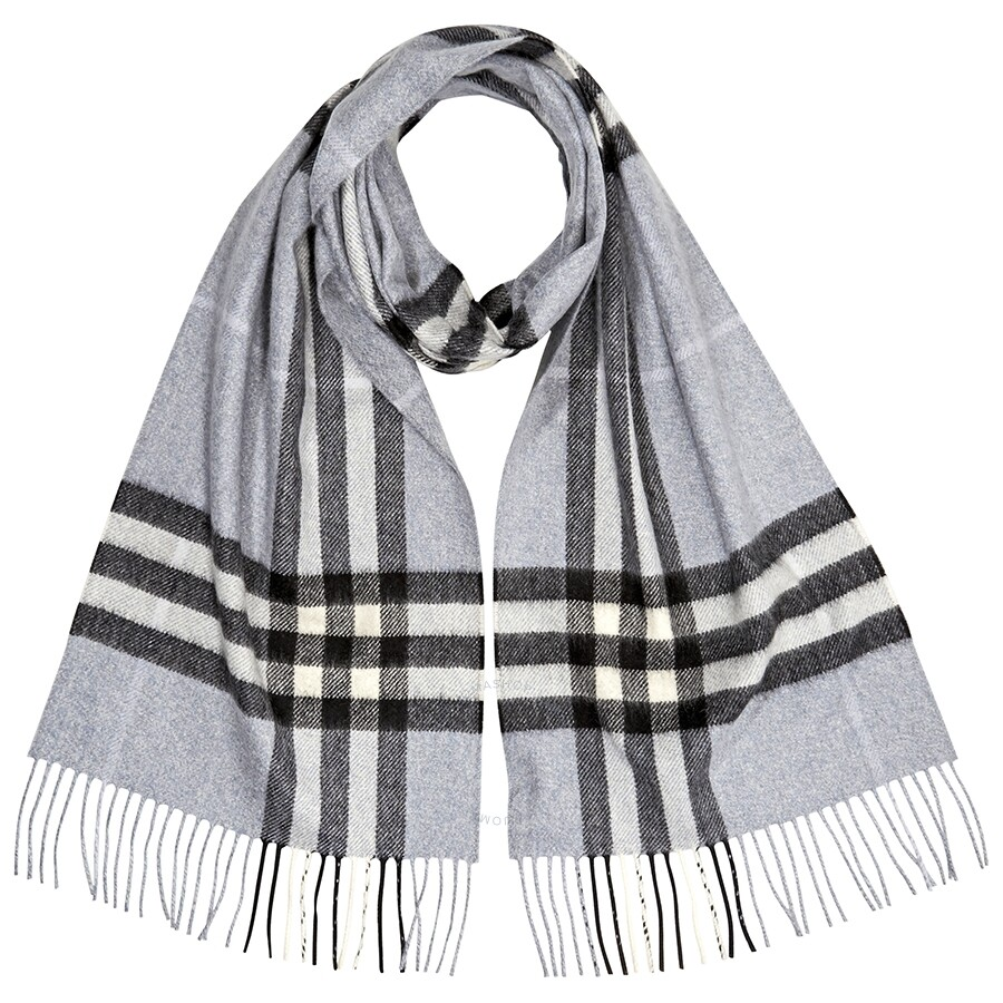 efbb8f93f063d Burberry The Classic Check Cashmere Scarf- Dusty Blue Item No. 8015529
