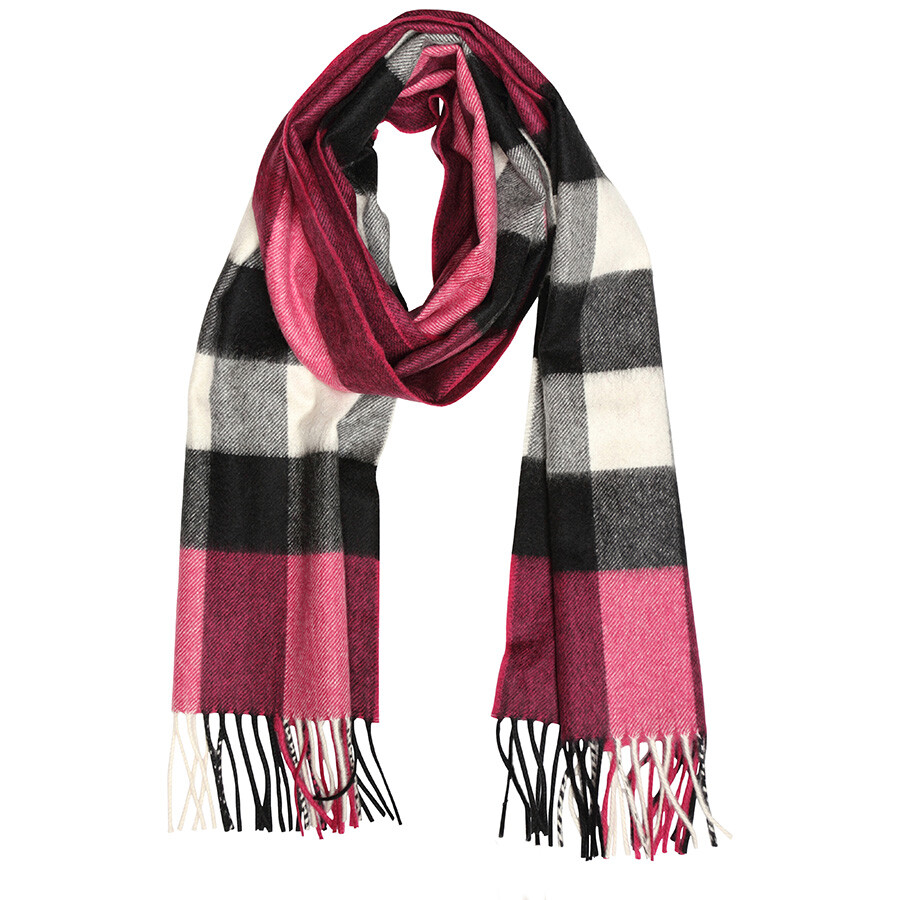 f8ccf77e Burberry The Large Classic Cashmere Scarf in Check - Fuchsia Pink