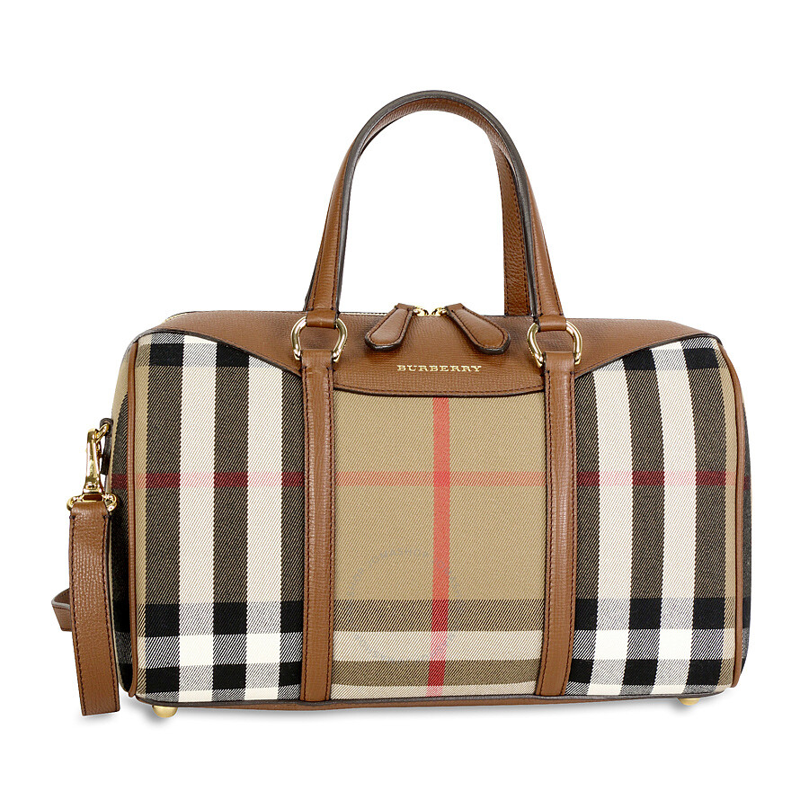 8f9b50511c06 Burberry The Medium Alchester House Check Leather Satchel - Tan Item No.  3980846