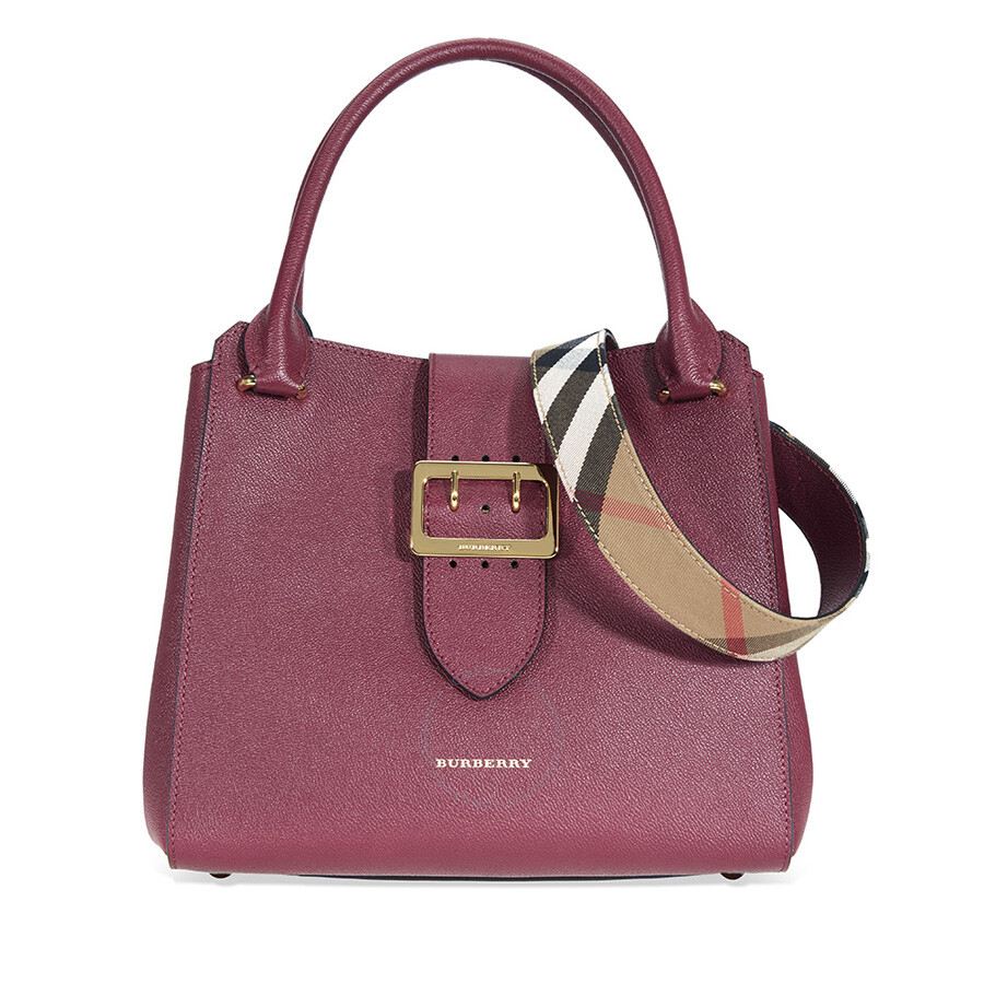 a7593cb600c3 Burberry The Medium Buckle Tote - Dark Plum - Burberry Handbags ...