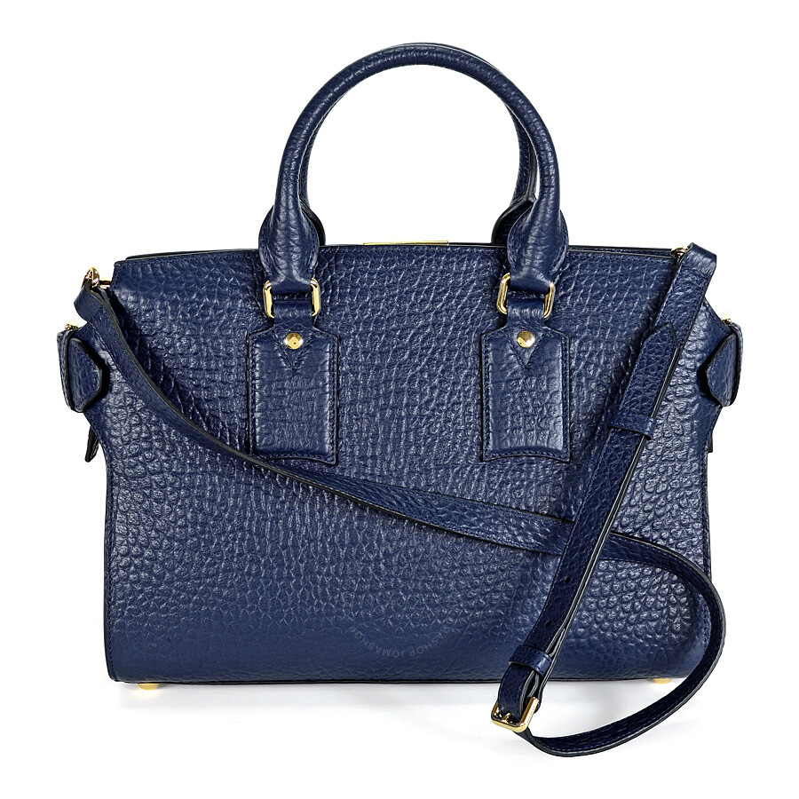 dd449b9a9802 Burberry The Medium Clifton Blue Carbon Leather Tote Item No. 39728811