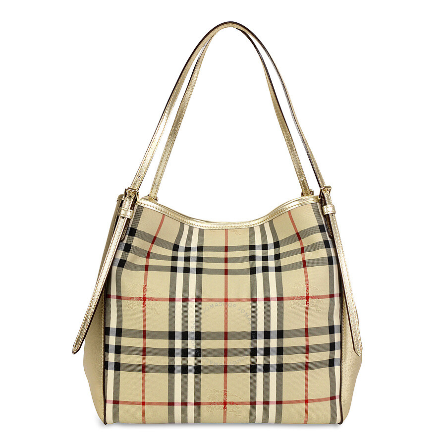 Burberry The Small Canter Horseferry Check Tote - Honey Gold ... 1ab3de4ebedcd