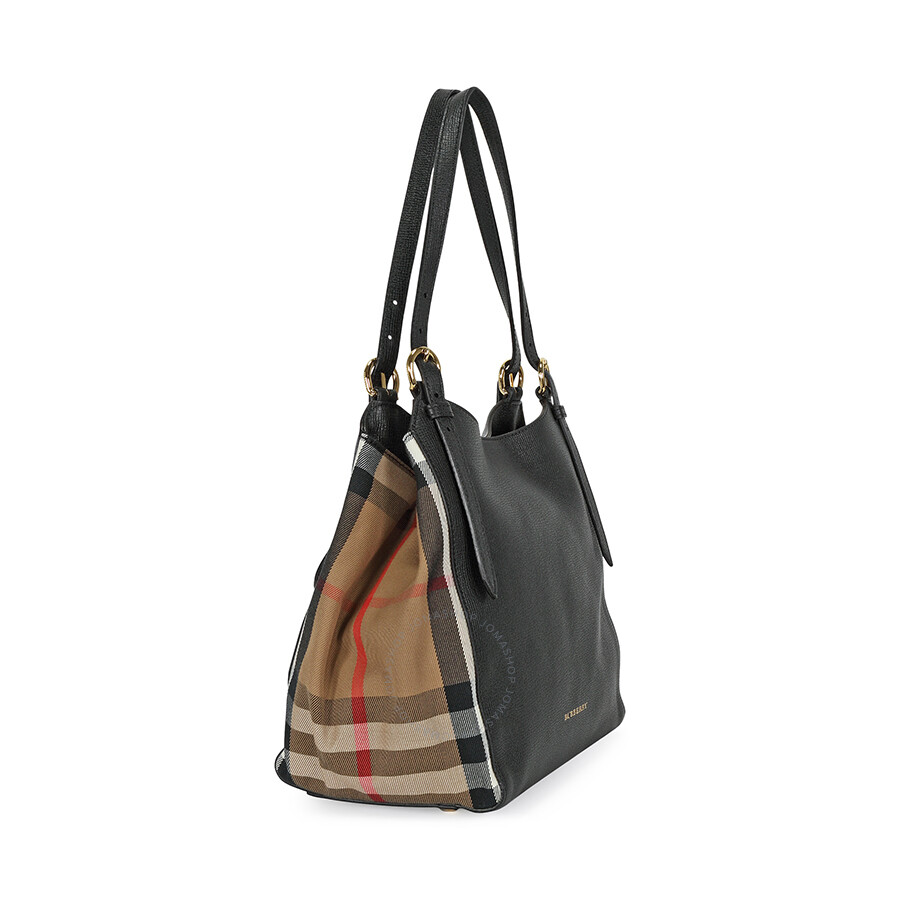 b610a915207b Burberry The Small Canter in Leather and House Check Tote - Black ...