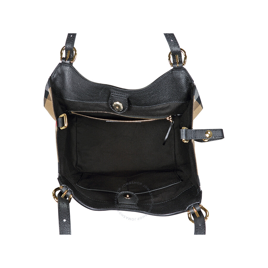 48d49721722b Burberry The Small Canter in Leather and House Check Tote - Black ...
