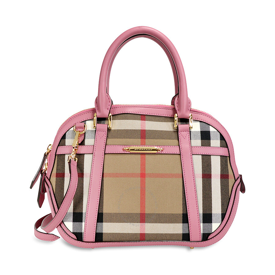 27175c41666 Burberry The Small Orchard House Check Bowling Bag Mauve Pink