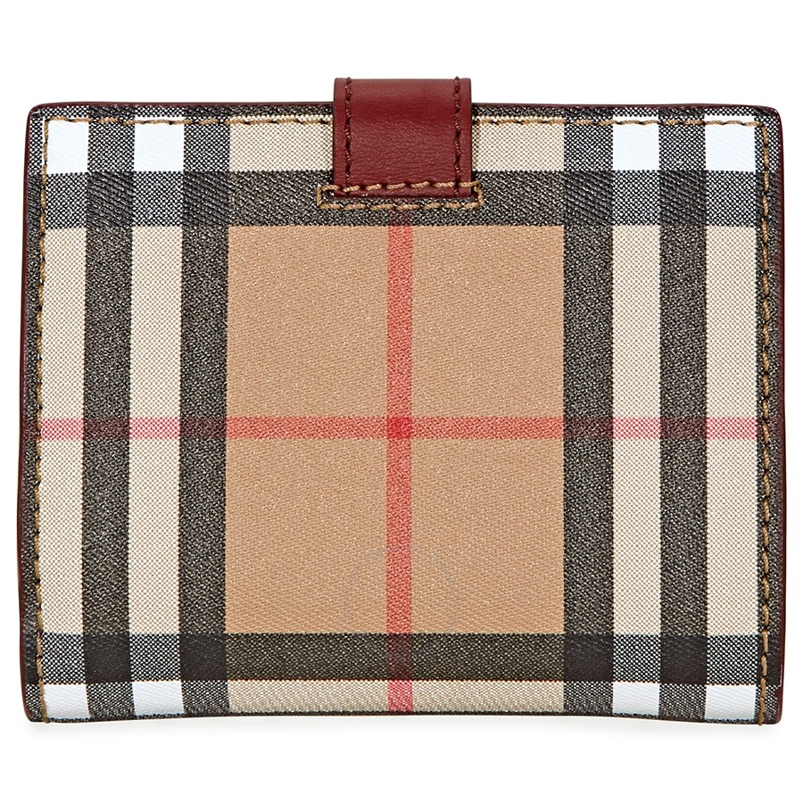 b8f0d438f8 Burberry Vintage Check and Leather Folding Wallet- Crimson ...