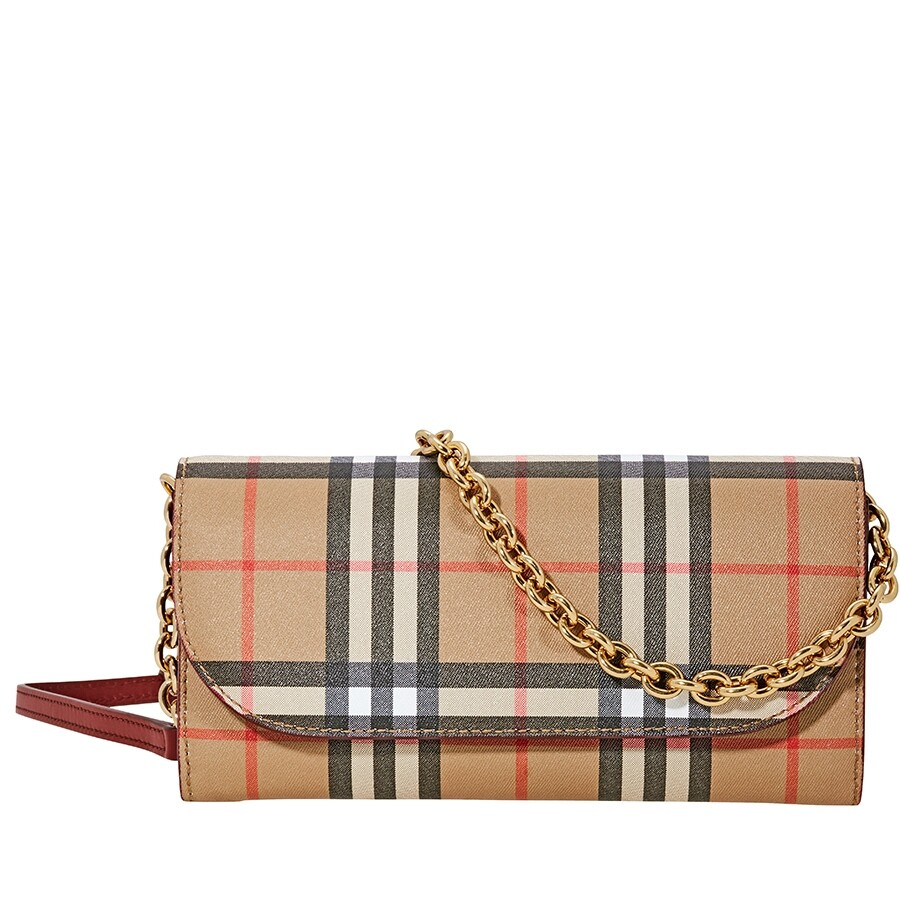 234ffd8d334c Burberry Vintage Check and Leather Wallet- Crimson Item No. 4080005