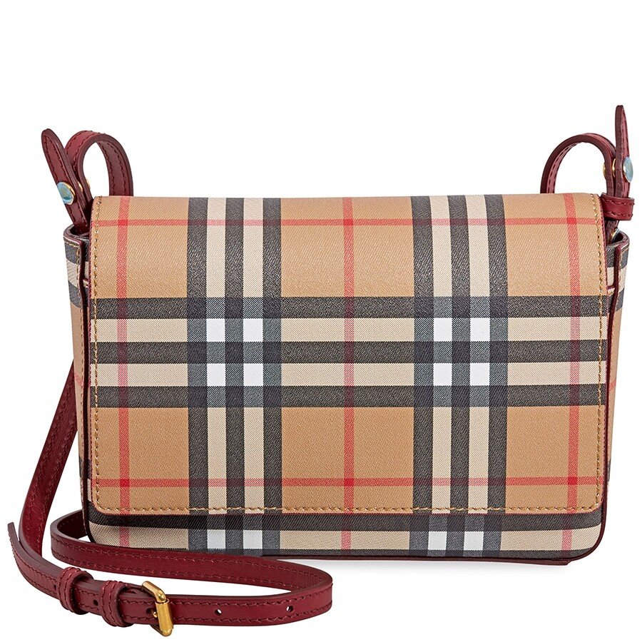 b3d436c87785 Burberry Vintage Check and Leather Wallet- Crimson Item No. 4080066