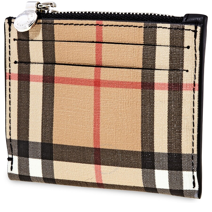 newest 22352 4cfde Burberry Vintage Check and Leather Zip Card Case- Black
