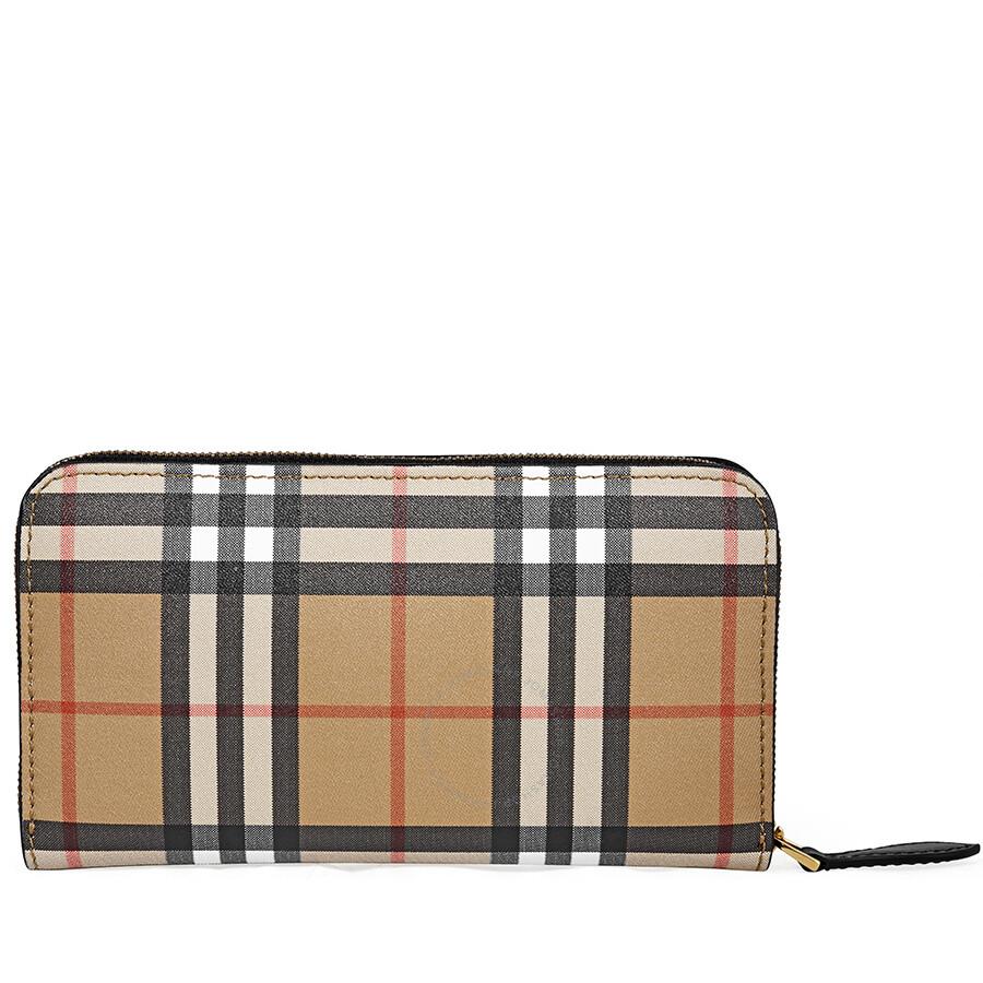 0563ab9e30df Burberry Vintage Check Leather Ziparound Wallet- Black Item No. 4071416