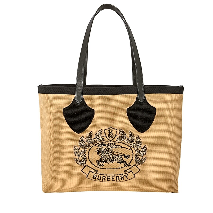 bc48682a6f2 Burberry Woven Logo Large Tote- Black - Burberry Handbags ...