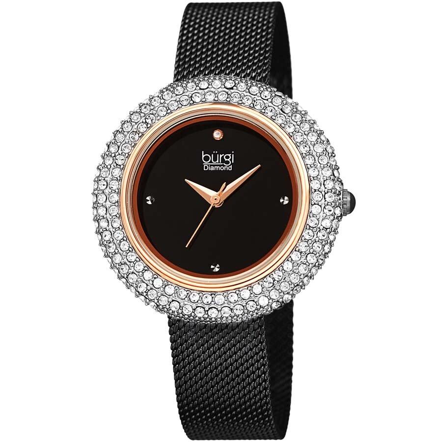 Burgi Las Argyle Dial Swarovski Crystal Glamor Mesh Bracelet Watch