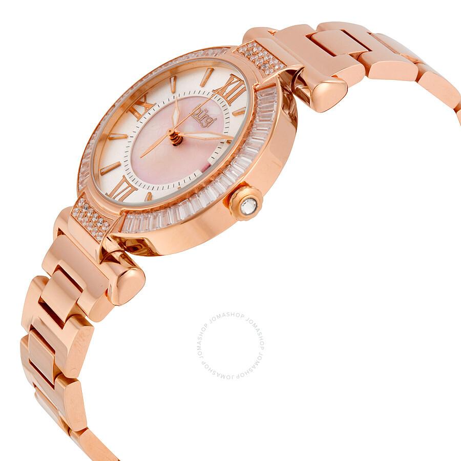 4200a4c3f29 Burgi Mother Of Pearl Dial Rose Gold Tone Bracelet Las Watch Bur082rg