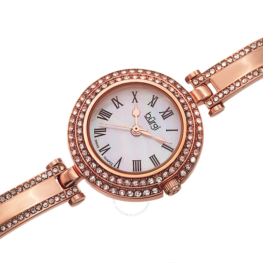 Burgi mother of pearl dial rose gold tone brass case ladies watch bur108rg burgi watches for Mother of pearl dial watch