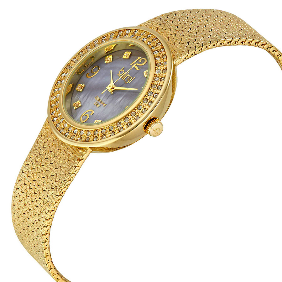 Burgi mother of pearl diamond dial gold tone brass ladies watch bur097yg burgi watches for Mother of pearl dial watch