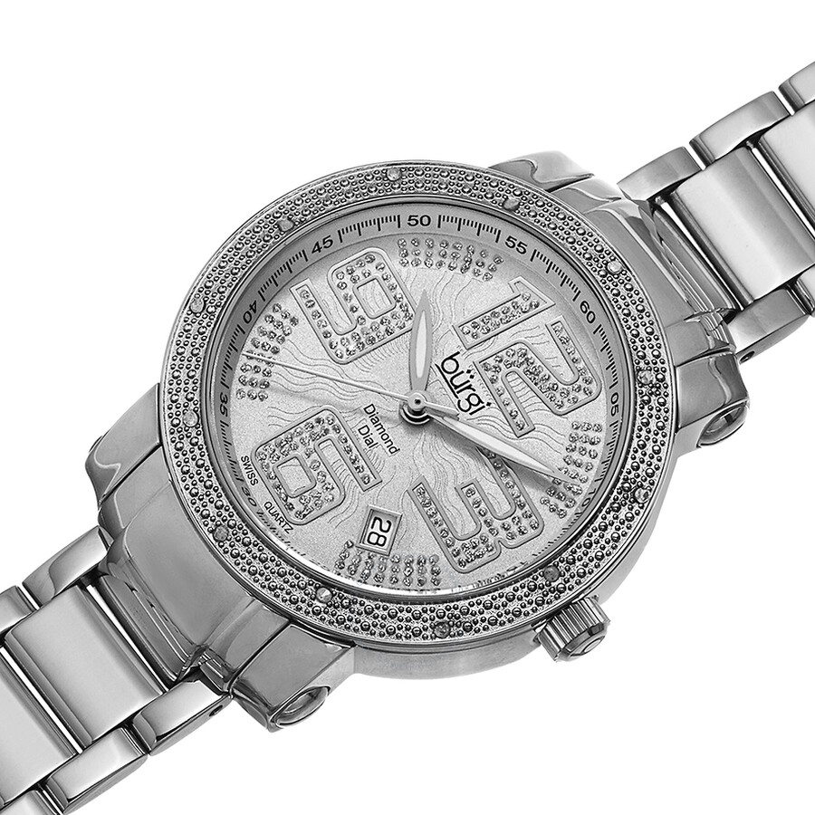 Burgi silver tone dial diamond bezel ladies watch bur091ss burgi watches jomashop for Diamond dial watch
