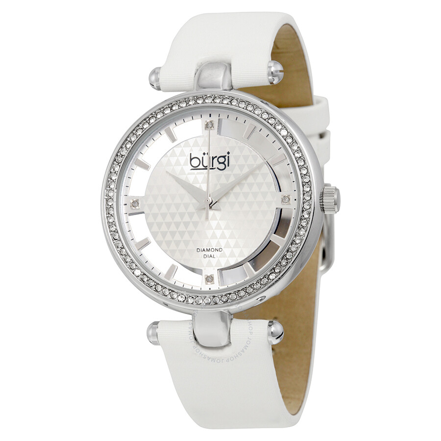 Burgi white satin strap gold tone diamond dial ladies watch bur104wtg burgi watches jomashop for Diamond dial watch