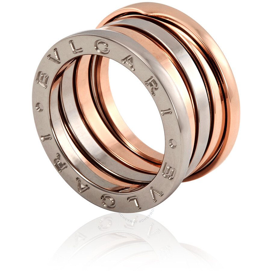 Bvlgari B Zero 1 18kt White And Rose Gold 4 Band Ring Size 55