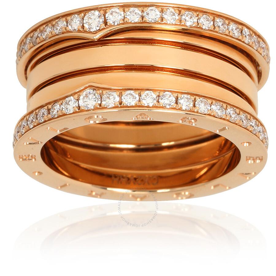 bvlgari bzero1 18k pink gold 4band diamond pave ring size 625