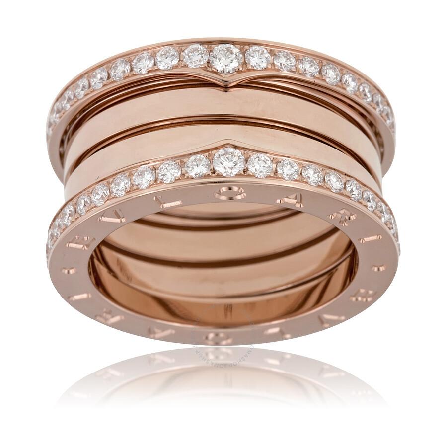bvlgari bzero1 18k pink gold 4band diamond ring size 7