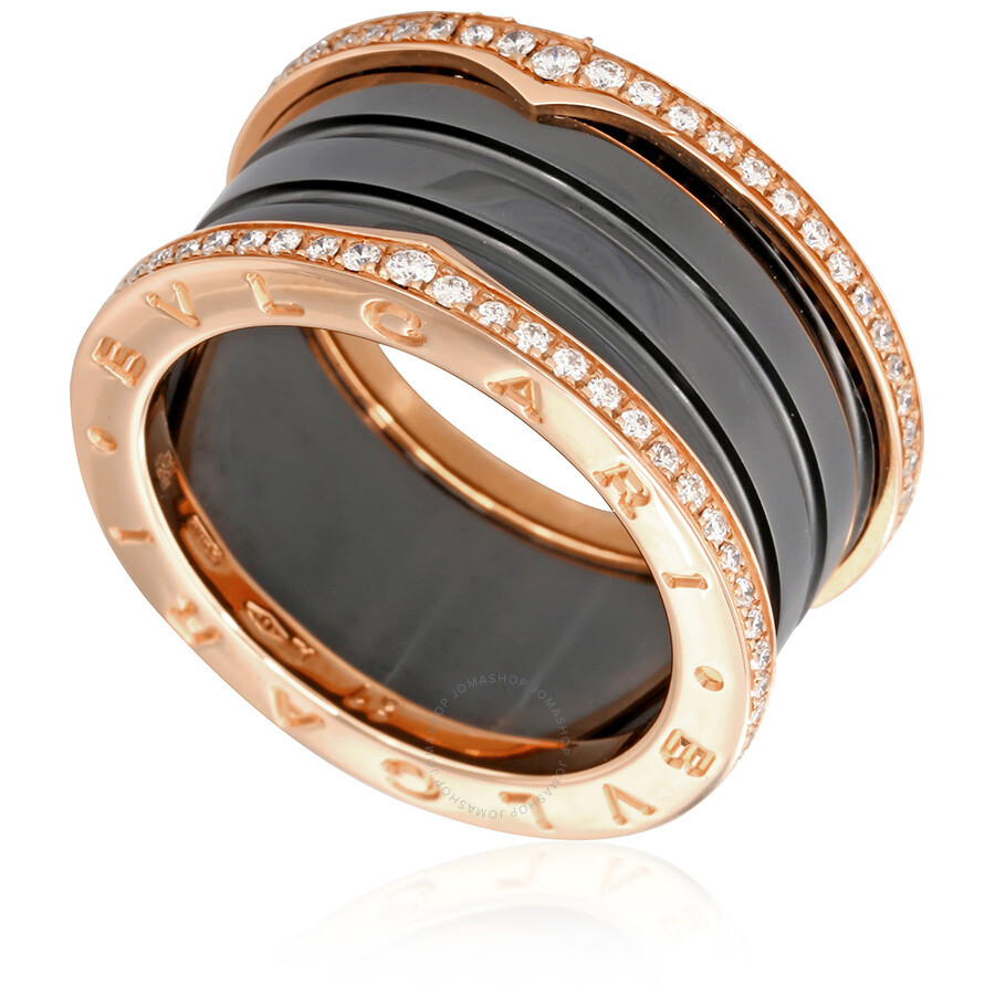 bvlgari bzero1 18k pink gold and black ceramic 4band diamond pave ring move your mouse over image or click to enlarge