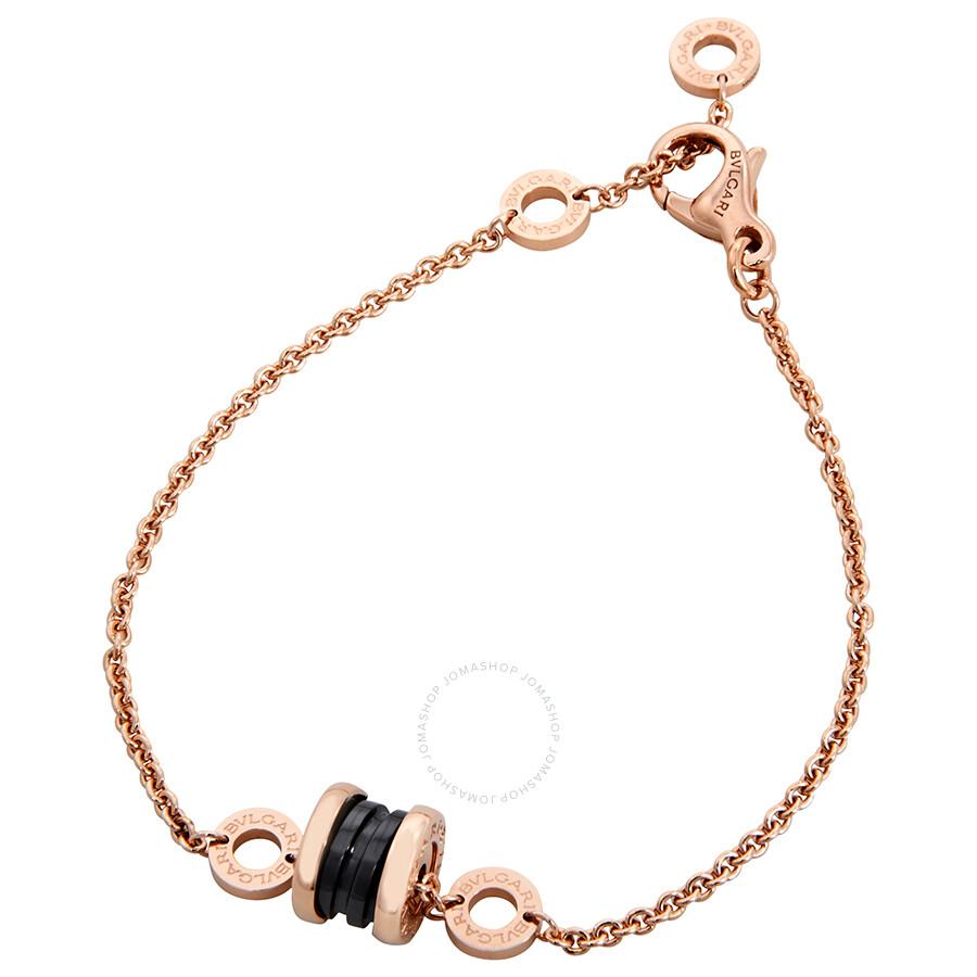 c8d54883e7120 Bvlgari B.Zero1 18K Pink Gold and Black Ceramic Bracelet- Size: M/L