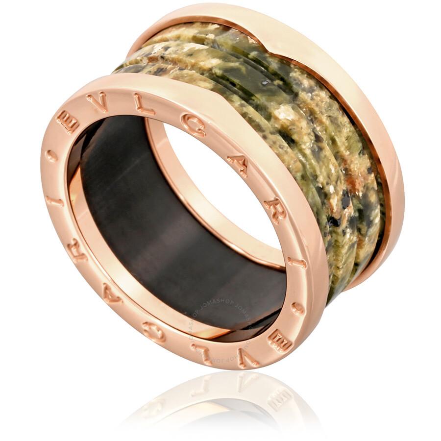 bvlgari bzero1 18k pink gold and green marble 4band ring size 925