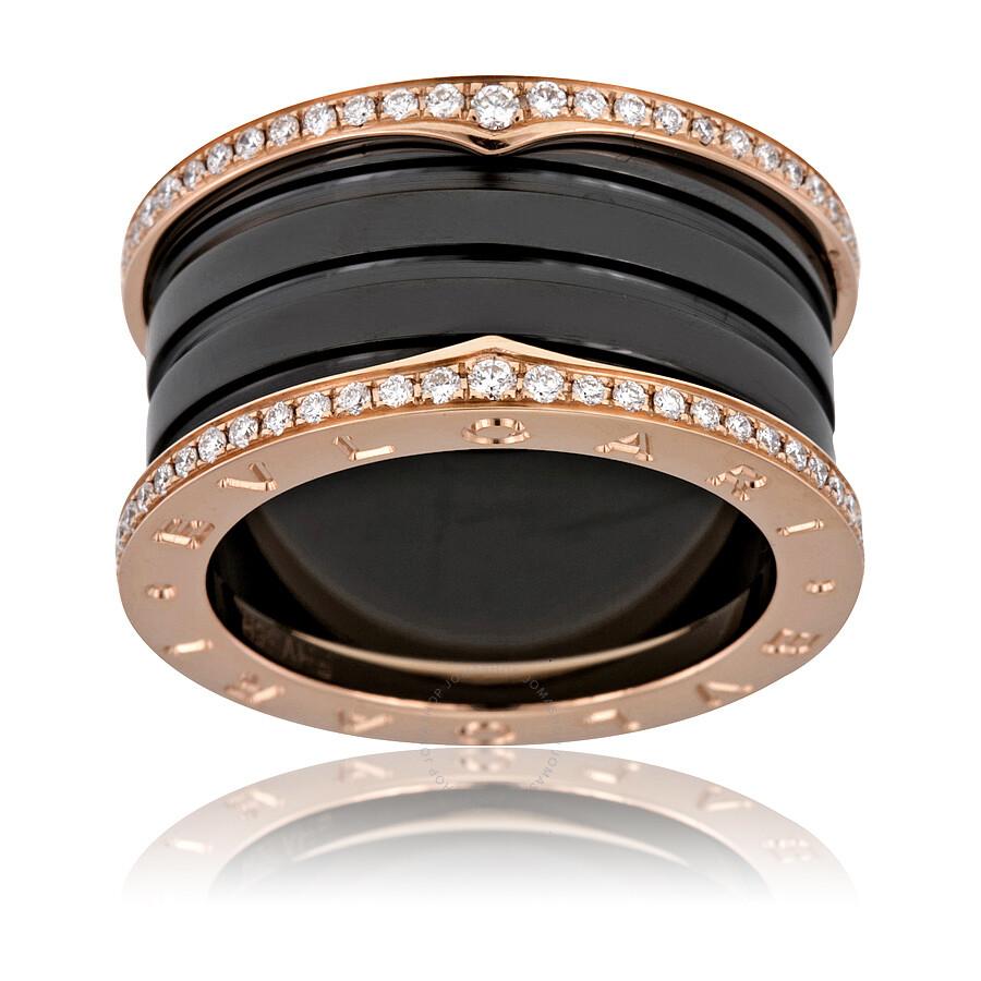 bvlgari bzero1 18k pink gold ceramic diamond ring size 725