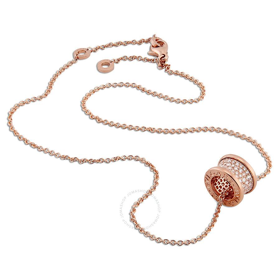 Bvlgari BZero1 18K Pink Gold Diamond Necklace 348035 Bvlgari