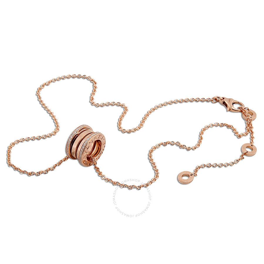 Bvlgari B.Zero1 18K Pink Gold Diamond Necklace 350052 - Bvlgari ...