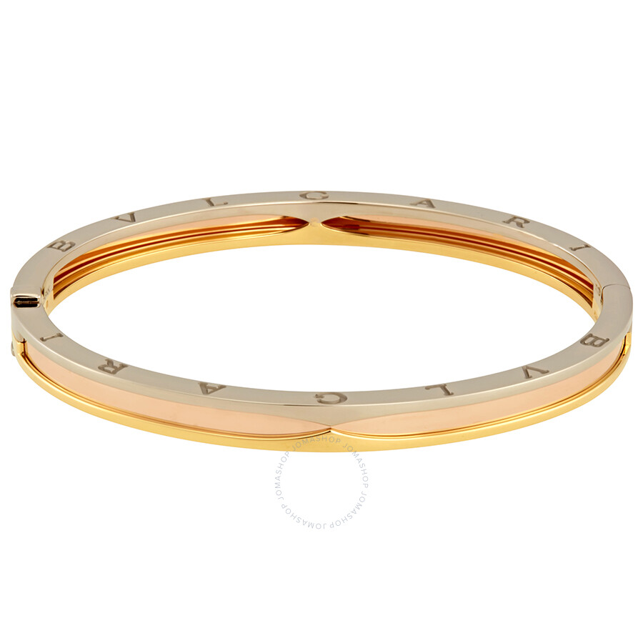 e0016484f ... Bvlgari B.Zero1 18K Pink White and Yellow Gold Bangle - Medium