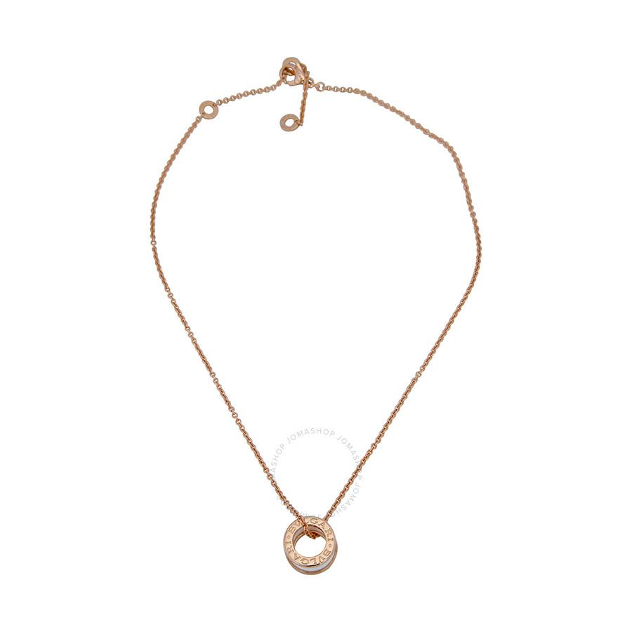 bvlgari b zero1 18kt pink gold and ceramic pendant with