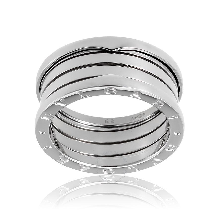 bvlgari bzero1 4 band 18k white gold ring size 10