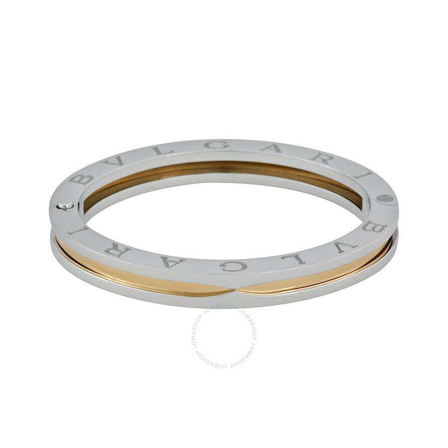 bvlgari bzero1 bangle bracelet in 18kt yellow gold and steel br851334
