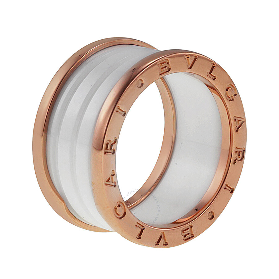 bvlgari bzero1 four band 18 kt rose gold and white ceramic ladies ring