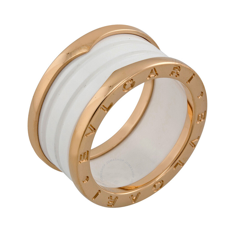 bvlgari four band 18 kt rose gold and white ceramic ladies ring size bvlgari. Black Bedroom Furniture Sets. Home Design Ideas