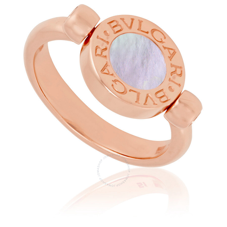 bvlgari bvlgari 18k pink gold and mother of pearl onyx ring size 575